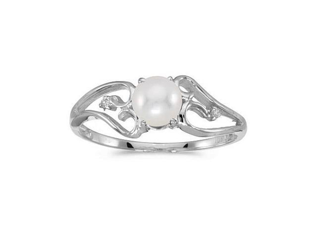 14k White Gold Freshwater Cultured Pearl And Diamond Ring (Size 8)