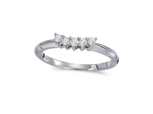14k White Gold 0.15 Ct Diamond Wrap Band (Size 7)