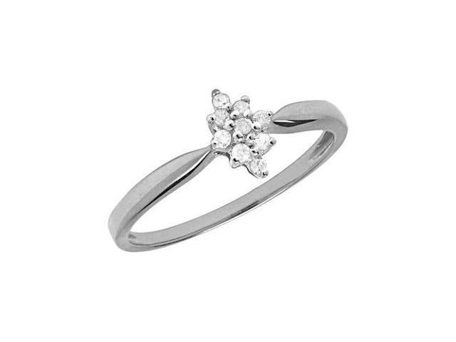 10K White Gold Diamond Cluster Ring (Size 6.5)