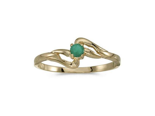 14k Yellow Gold Round Emerald Ring (Size 7.5)