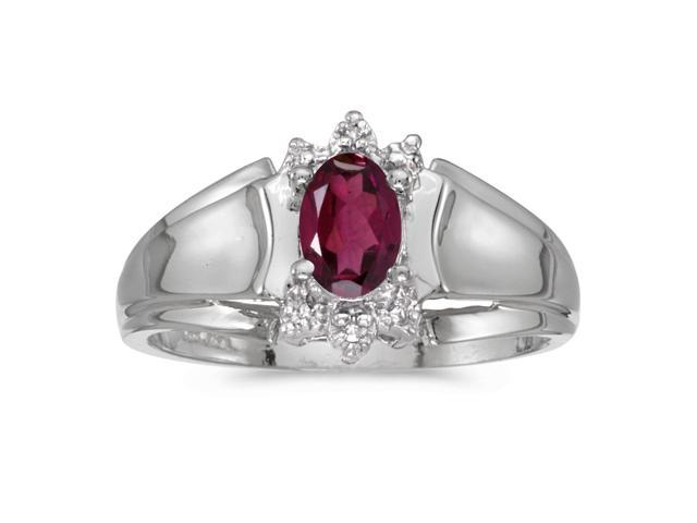 10k White Gold Oval Rhodolite Garnet And Diamond Ring (Size 5.5)