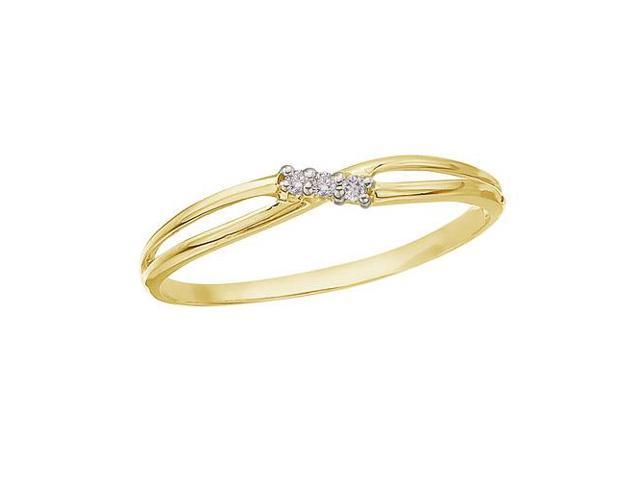 14K Yellow Gold and Diamond Bypass Promise Ring (Size 4.5)