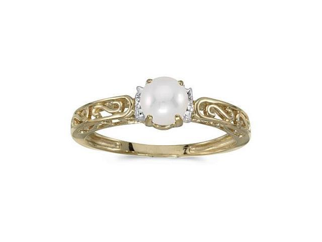 10k Yellow Gold Freshwater Cultured Pearl And Diamond Ring (Size 7.5)