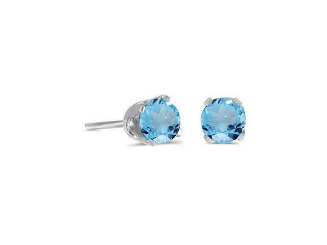 4 mm Round Blue Topaz Screw-back Stud Earrings in 14k White Gold
