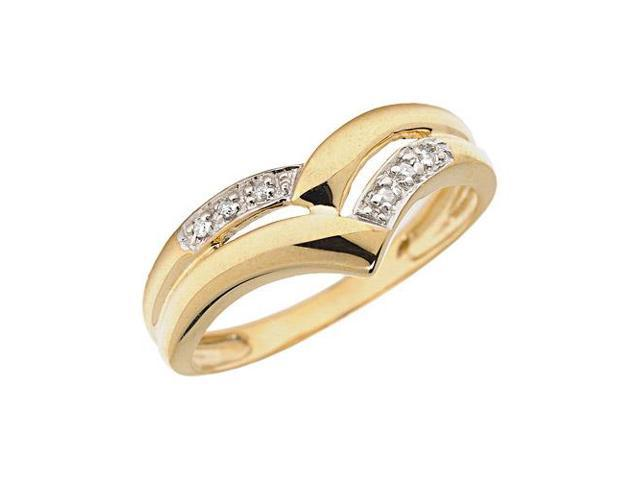 14K Yellow Gold Diamond Chevron Ring (Size 4.5)