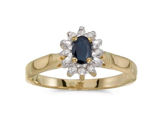 14k Yellow Gold Oval Sapphire And Diamond Ring (Size 8.5)