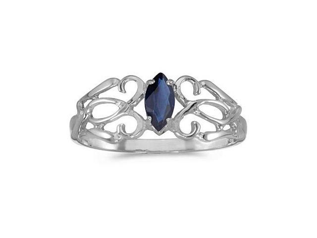 14k White Gold Marquise Sapphire Filagree Ring (Size 8)