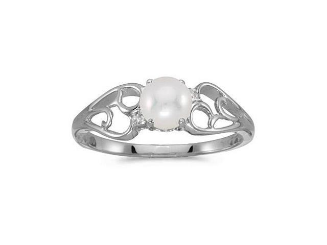 14k White Gold Pearl And Diamond Ring (Size 6)