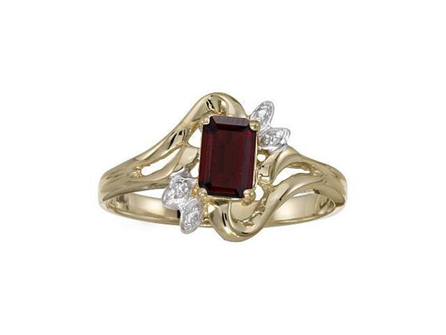 10k Yellow Gold Emerald-cut Garnet And Diamond Ring (Size 8.5)