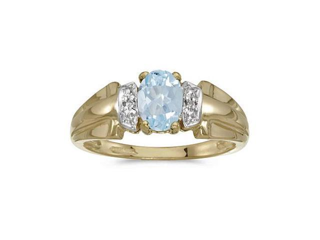 14k Yellow Gold Oval Aquamarine And Diamond Ring (Size 5)