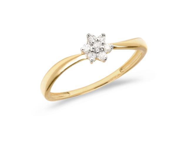 10K Yellow Gold Diamond Cluster Ring (Size 4.5)