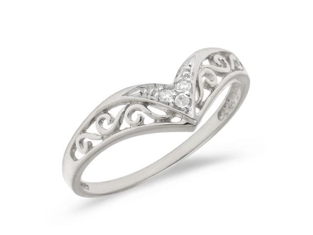 14K White Gold Diamond Chevron Ring (Size 5.5)