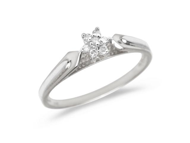 14K White Gold Diamond Cluster Ring (Size 8.5)