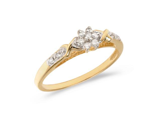 14K Yellow Gold Diamond Cluster Ring (Size 9)