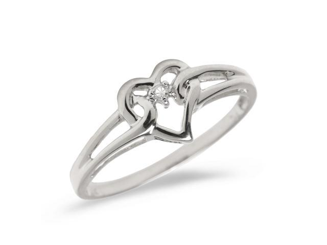 14K White Gold Diamond Heart Ring (Size 6)
