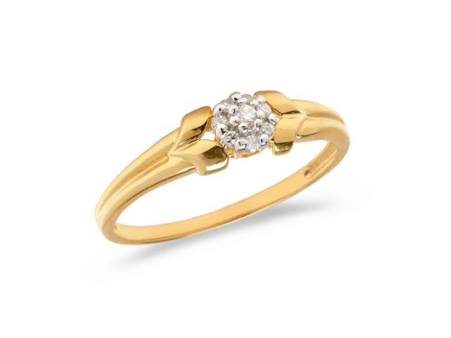 10K Yellow Gold Diamond Cluster Ring (Size 7.5)
