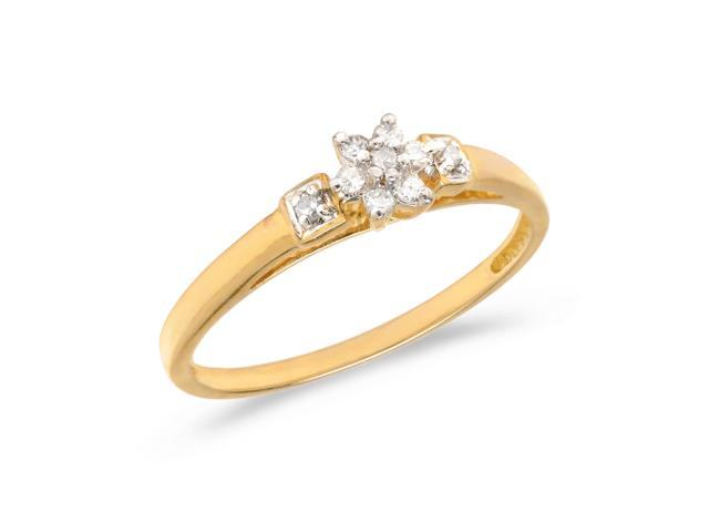 14K Yellow Gold Diamond Cluster Ring (Size 8.5)