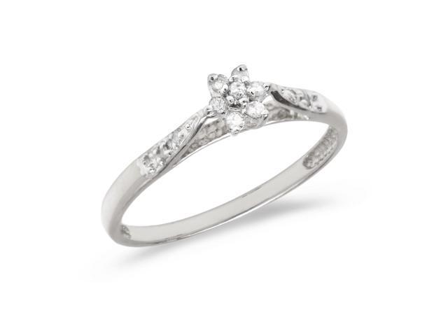 14K White Gold Diamond Cluster Ring (Size 5)