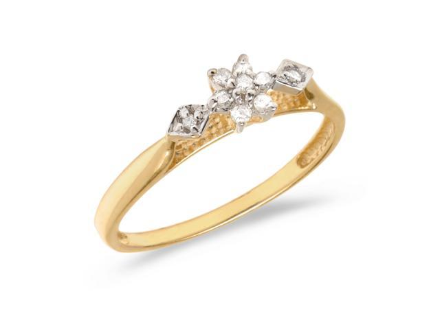 14K Yellow Gold Diamond Cluster Ring (Size 8)