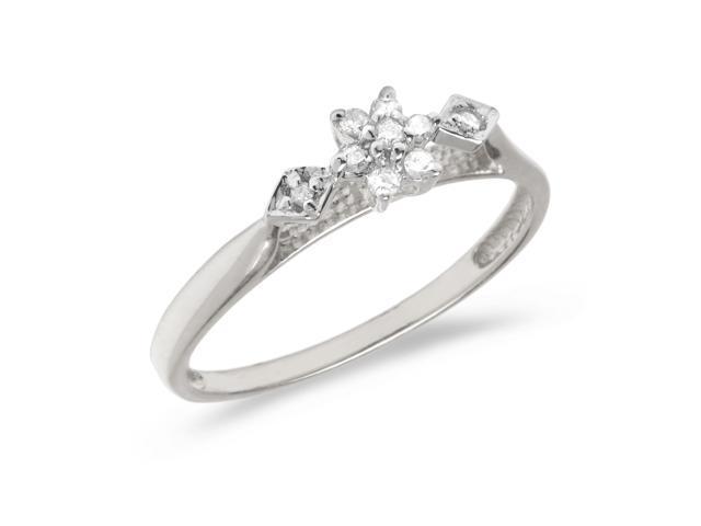 10K White Gold Diamond Cluster Ring (Size 9)