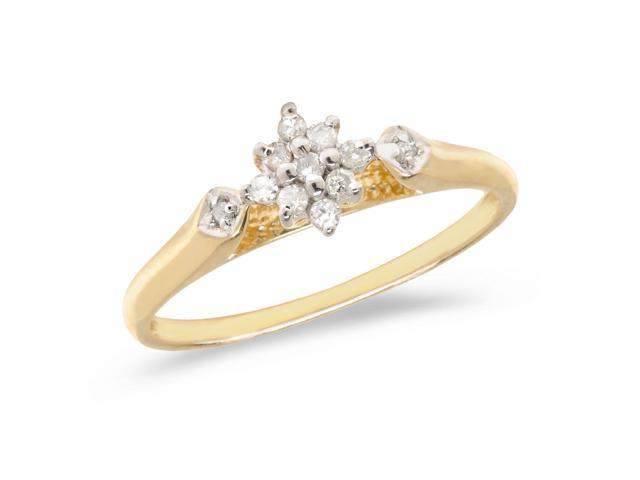 14K Yellow Gold Diamond Cluster Ring (Size 4.5)