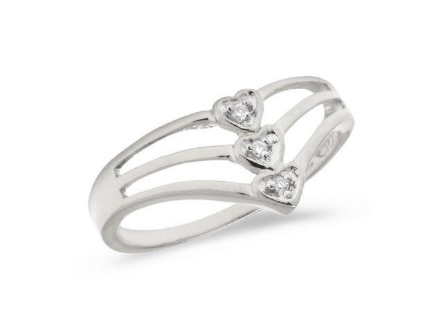 10K White Gold Diamond Heart Ring (Size 5.5)