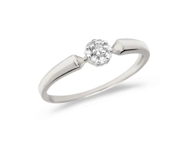 10K White Gold Diamond Cluster Ring (Size 5)