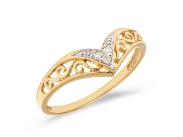 14K Yellow Gold Diamond Chevron Ring (Size 6.5)