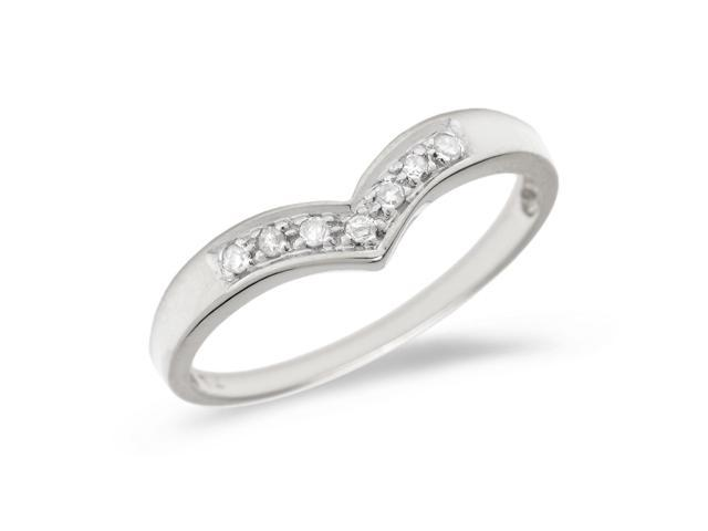 10K White Gold Diamond Chevron Ring (Size 4.5)