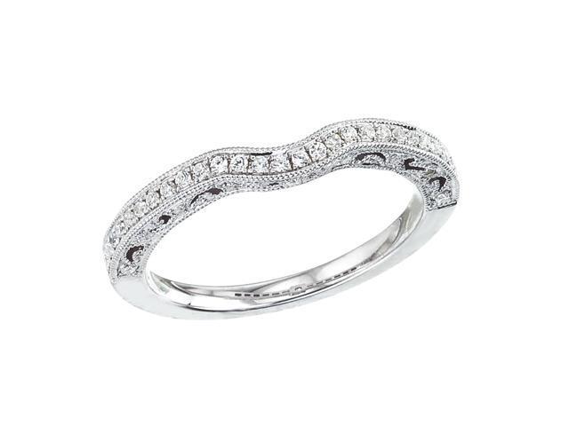 14K White Gold Milgrain Diamond QPID Wedding Band