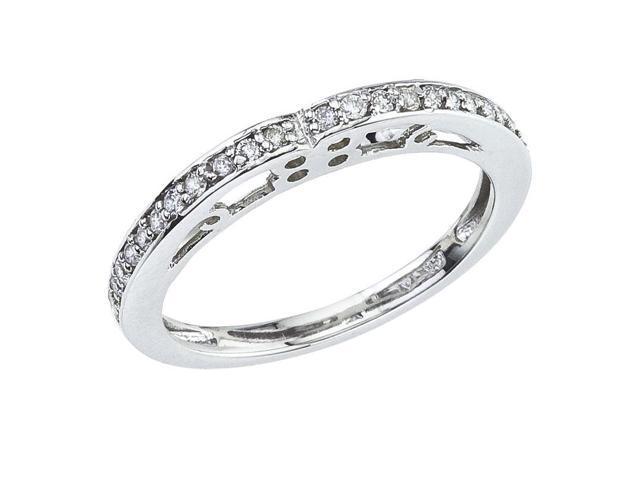 14K White Gold Filigree Diamond QPID Wedding Band