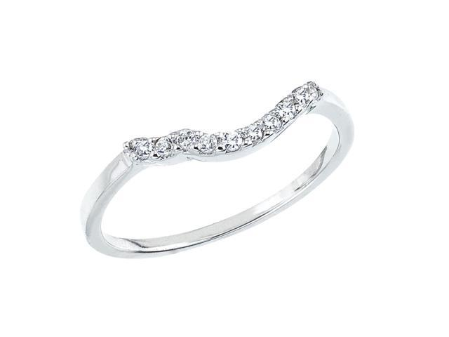 14K White Gold Bypass Diamond QPID Wedding Band