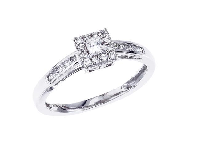 14K White Gold Square Cut Diamond QPID Engagement Ring (0.32 tcw)