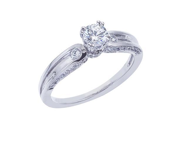 14K White Gold Classic Diamond QPID Engagement Ring (0.25 ctw)