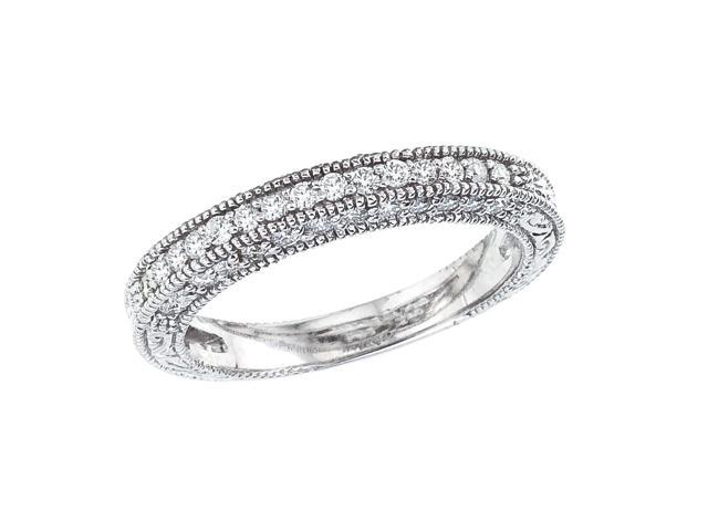 14K White Gold Classic Diamond QPID Wedding Band (0.49 tcw)