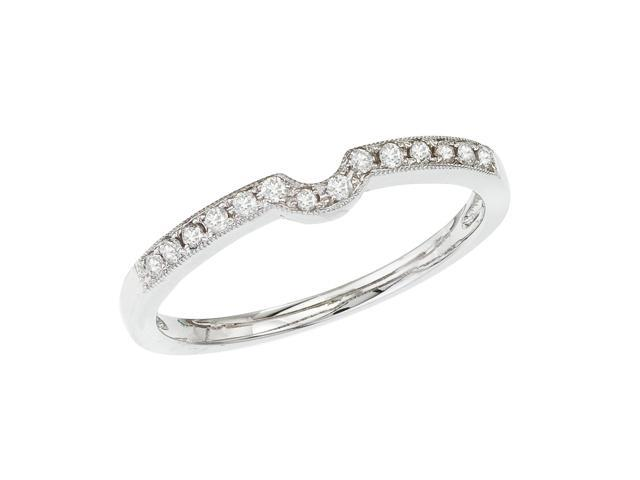 14K White Gold Milgrain Diamond QPID Wedding Band