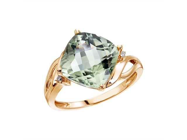 14K Yellow Gold 10 mm Cushion Green Amethyst and Diamond Ring (Size 8)
