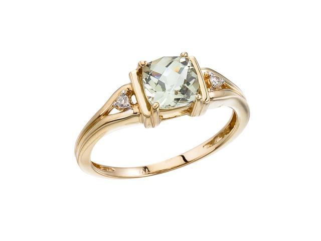 14K Yellow Gold Green Amethyst and Diamond Ring (Size 8.5)