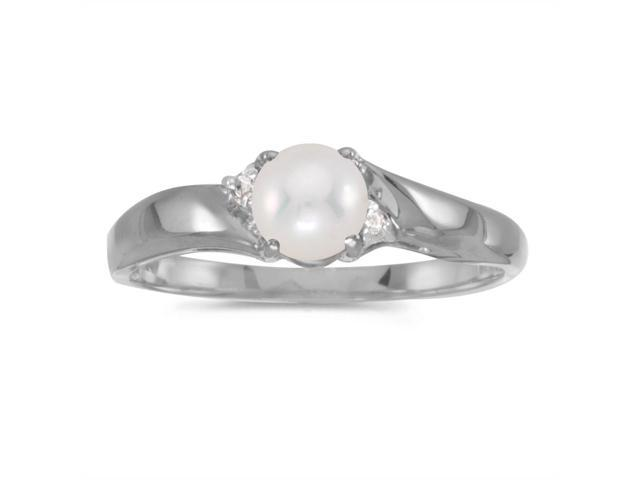 14k White Gold Freshwater Cultured Pearl And Diamond Ring (Size 10.5)