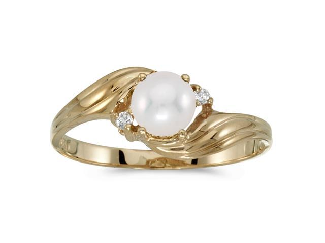 10k Yellow Gold Freshwater Cultured Pearl And Diamond Ring (Size 4.5)