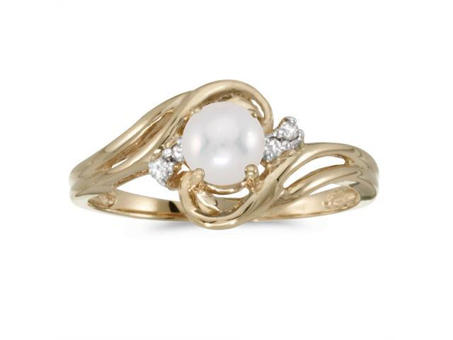10k Yellow Gold Freshwater Cultured Pearl And Diamond Ring (Size 6.5)