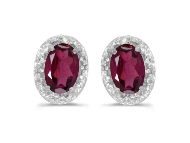 14k White Gold Oval Rhodolite Garnet And Diamond Earrings