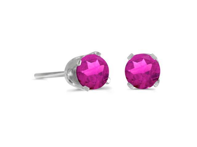 4 mm Round Pink Topaz Stud Earrings in Sterling Silver