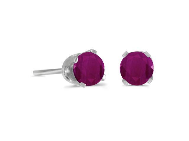 4 mm Round Ruby Stud Earrings in Sterling Silver