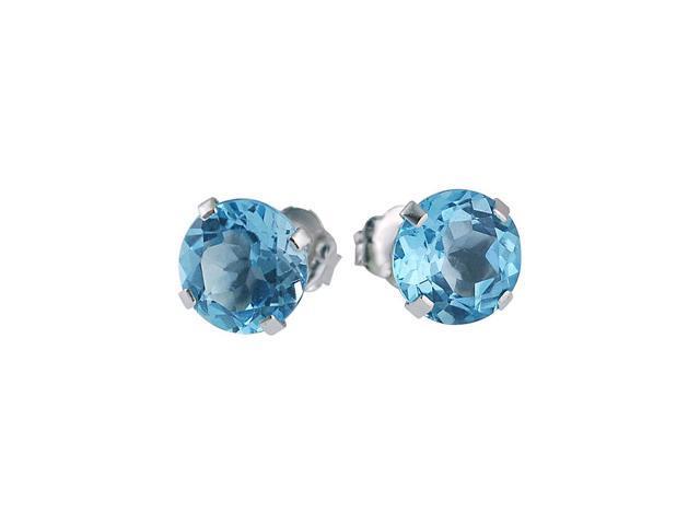 14k White Gold 6mm Round Blue Topaz Stud Earrings
