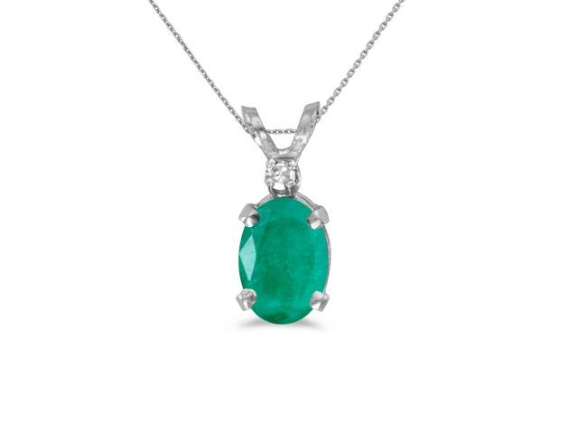 14k White Gold Oval Emerald And Diamond Pendant with 18