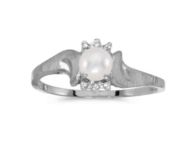 14k White Gold Freshwater Cultured Pearl And Diamond Satin Finish Ring (Size 9)