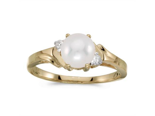 14k Yellow Gold Freshwater Cultured Pearl And Diamond Ring (Size 6)
