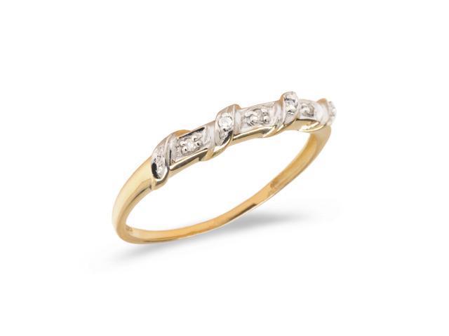 14K Yellow Gold Diamond Band Ring (Size 4.5)