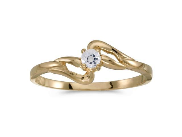 14k Yellow Gold Round White Topaz Ring (Size 5.5)